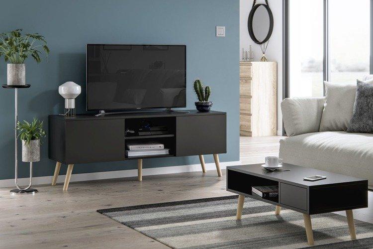 Szafka pod telewizor w stylu skandynawskim Romeo biały mat / dąb sonoma